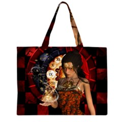 Steampunk, Beautiful Steampunk Lady With Clocks And Gears Zipper Large Tote Bag
