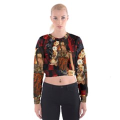 Steampunk, Beautiful Steampunk Lady With Clocks And Gears Cropped Sweatshirt