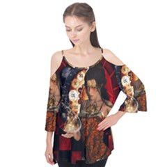 Steampunk, Beautiful Steampunk Lady With Clocks And Gears Flutter Tees