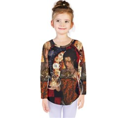 Steampunk, Beautiful Steampunk Lady With Clocks And Gears Kids  Long Sleeve Tee