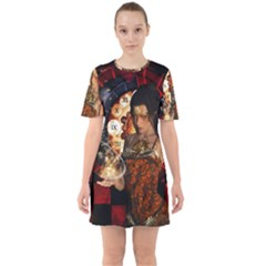 Steampunk, Beautiful Steampunk Lady With Clocks And Gears Mini Dress