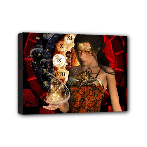 Steampunk, Beautiful Steampunk Lady With Clocks And Gears Mini Canvas 7  X 5