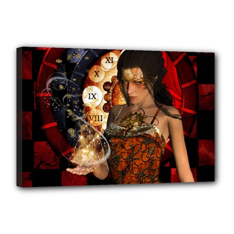 Steampunk, Beautiful Steampunk Lady With Clocks And Gears Canvas 18  X 12