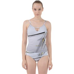 White Abstract Wallpaper  Cut Out Top Tankini Set