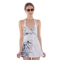 Girl Hair Patterns Feelings Line Halter Swimsuit Dress