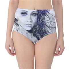 Girl Face Eyes Hair Drawing  High Waist Bikini Bottoms