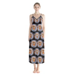 Cute Animal Drops   Tiger Button Up Chiffon Maxi Dress
