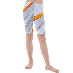 Abstraction Yellow White Line  Kids  Mid Length Swim Shorts