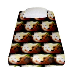 Cute Animal Drops   Wolf Fitted Sheet (single Size)