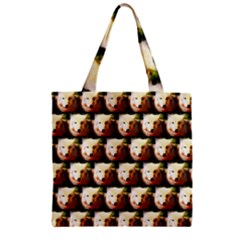Cute Animal Drops   Wolf Zipper Grocery Tote Bag