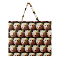 Cute Animal Drops   Wolf Zipper Large Tote Bag
