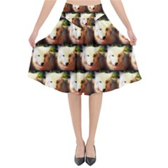 Cute Animal Drops   Wolf Flared Midi Skirt