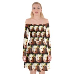 Cute Animal Drops   Wolf Off Shoulder Skater Dress