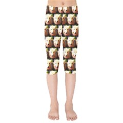 Cute Animal Drops   Wolf Kids  Capri Leggings