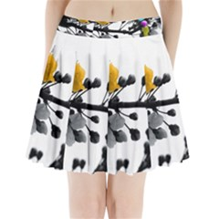 Blossom Branch Black White Colored Pleated Mini Skirt