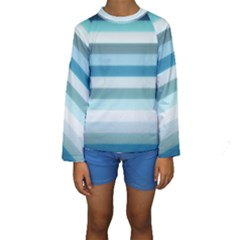 Texture Stripes Horizontal Blue Gray  Kids  Long Sleeve Swimwear
