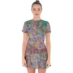 Texture Flowers Glitter  Drop Hem Mini Chiffon Dress