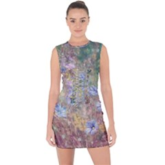 Texture Flowers Glitter  Lace Up Front Bodycon Dress
