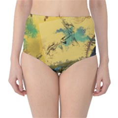 Strokes Paint Different Colors Circle Square  High Waist Bikini Bottoms