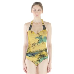 Strokes Paint Different Colors Circle Square  Halter Swimsuit
