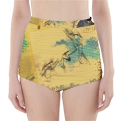 Strokes Paint Different Colors Circle Square  High Waisted Bikini Bottoms