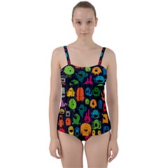 Monsters Colorful Drawing Twist Front Tankini Set