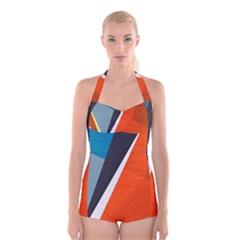 Paint Background Light Spot  Boyleg Halter Swimsuit