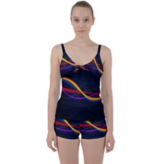 Lines Climbing Wave Multi Colored Tie Front Two Piece Tankini