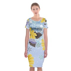 Color Background Pattern Surface  Classic Short Sleeve Midi Dress