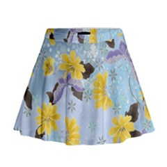 Color Background Pattern Surface  Mini Flare Skirt