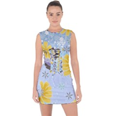 Color Background Pattern Surface  Lace Up Front Bodycon Dress