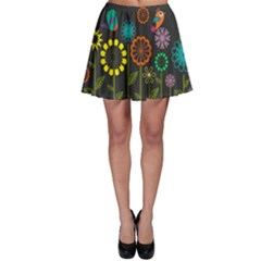 Colorful Vector Flowers Birds  Skater Skirt