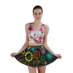 Colorful Vector Flowers Birds  Mini Skirt