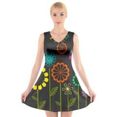 Colorful Vector Flowers Birds  V Neck Sleeveless Skater Dress