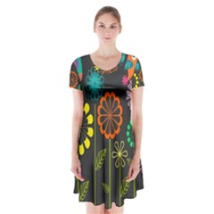 Colorful Vector Flowers Birds  Short Sleeve V Neck Flare Dress
