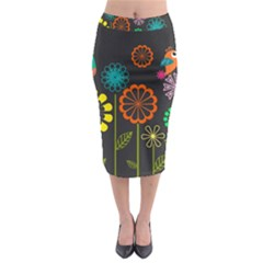 Colorful Vector Flowers Birds  Midi Pencil Skirt