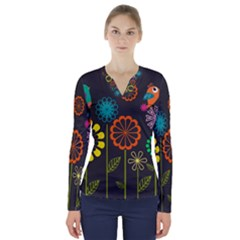 Colorful Vector Flowers Birds  V Neck Long Sleeve Top