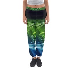 Abstract Blue Green Shiny  Women s Jogger Sweatpants
