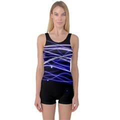 Abstraction Colorful Lines Dark  One Piece Boyleg Swimsuit