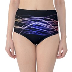 Abstraction Colorful Lines Dark  High Waist Bikini Bottoms