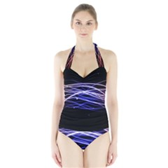 Abstraction Colorful Lines Dark  Halter Swimsuit
