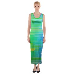 Colors Rainbow Pattern Fitted Maxi Dress