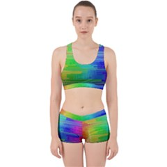 Colors Rainbow Pattern Work It Out Sports Bra Set