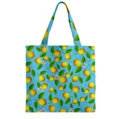 Lemon Pattern Zipper Grocery Tote Bag