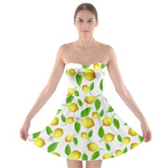 Lemon Pattern Strapless Bra Top Dress