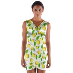 Lemon Pattern Wrap Front Bodycon Dress