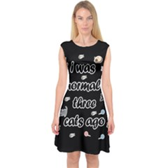 I Was Normal Three Cats Ago Capsleeve Midi Dress