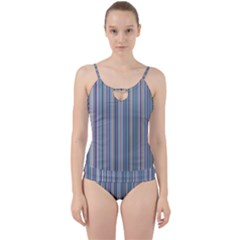 Lines Cut Out Top Tankini Set