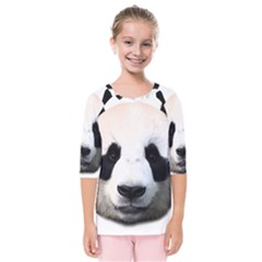 Panda Face Kids  Quarter Sleeve Raglan Tee