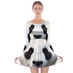 Panda Face Long Sleeve Skater Dress
